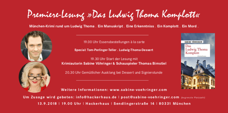 Sabine Voehringer Startlesung Das Ludwig Thoma Komplott