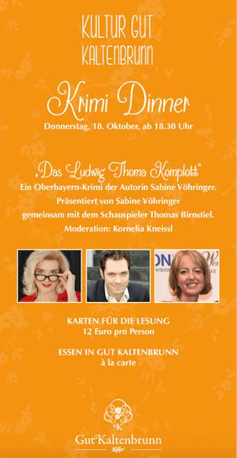 Gut Kaltenbrunn Krimi Dinner mit Sabine Vöhringer, Thomas Birnstiel und Kornelia Kneissel-2